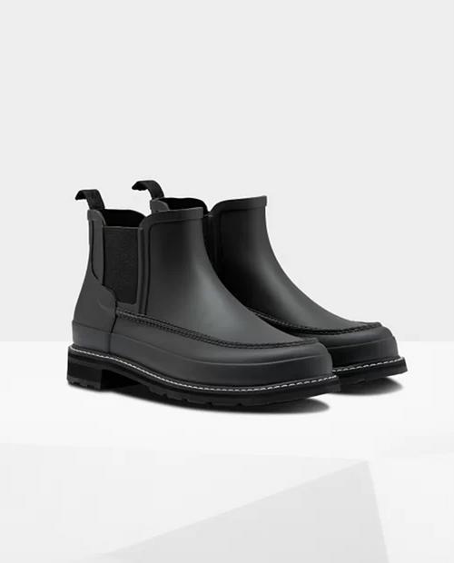 Mens Refined Moc Toe Chelsea Boots in Black/black