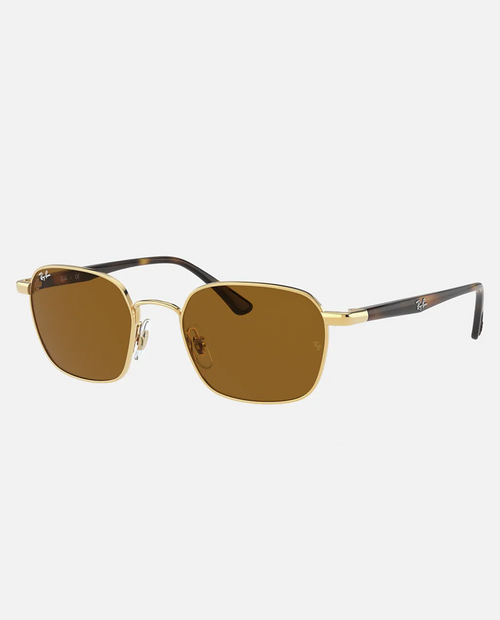 Rayban Sunglasses with Gold Frame and Brown Lens