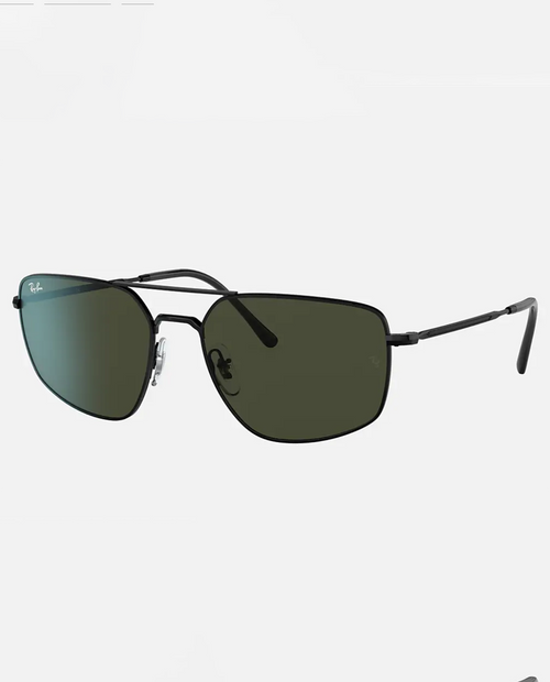 Rayban Sunglasses with Black Frame and Green Lens