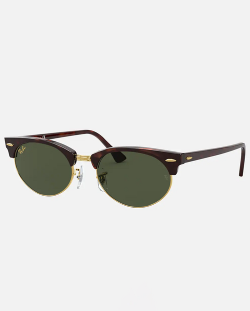 Clubmaster Oval with Mock Tortoise Frame and Green Lens