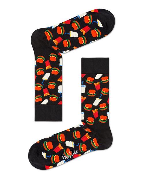 HAPPY SOCKS Mens Hamburger Sock in Black Combo