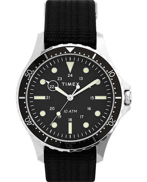 TIMEX Navi 41mm Watch with Fabric Strap in Black