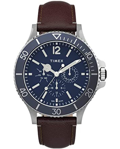 TIMEX Blue 43mm Harborside Multifunction Watch with Frabric Strap in Brown