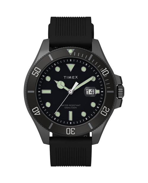 TIMEX Grey 43mm Harborside Coast Watch with Silicone Strap in Black