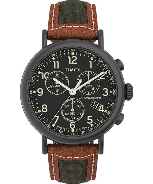 TIMEX Black 41mm Standard Chronograph with Leather Strap in Black / Brown