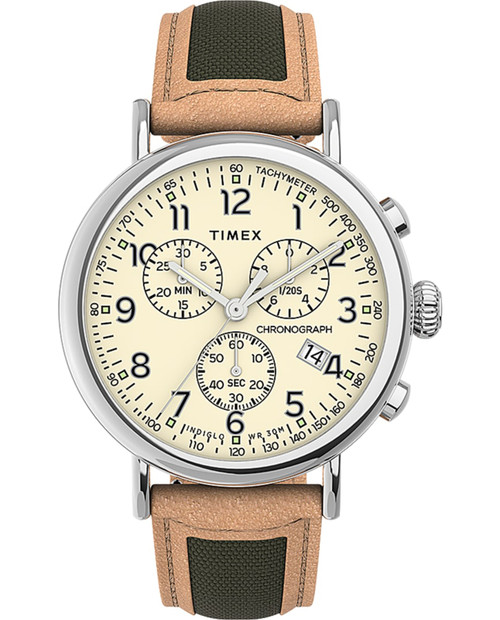 TIMEX Offwhite 41mm Standard Chronograph Leather Strap in Tan