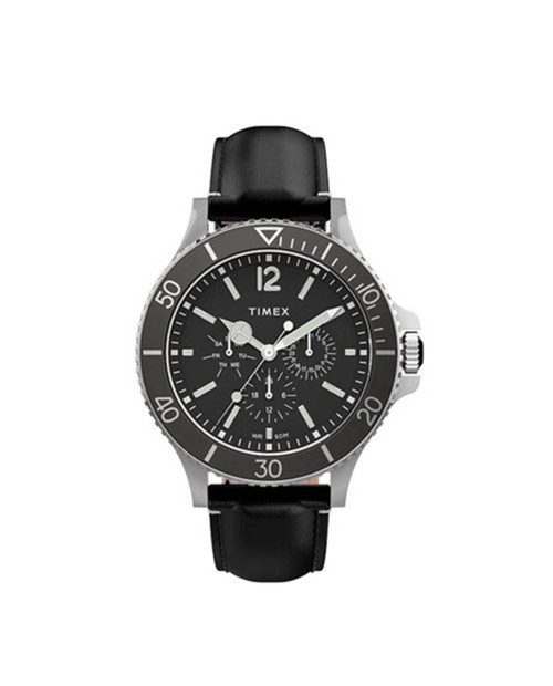 TIMEX Black 43mm Harborside Multifunction Watch with Leather Strap in Black