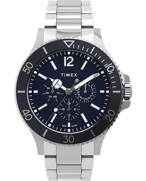 TIMEX Black 43mm Harborside Multifunction with Stainless Steel Strap