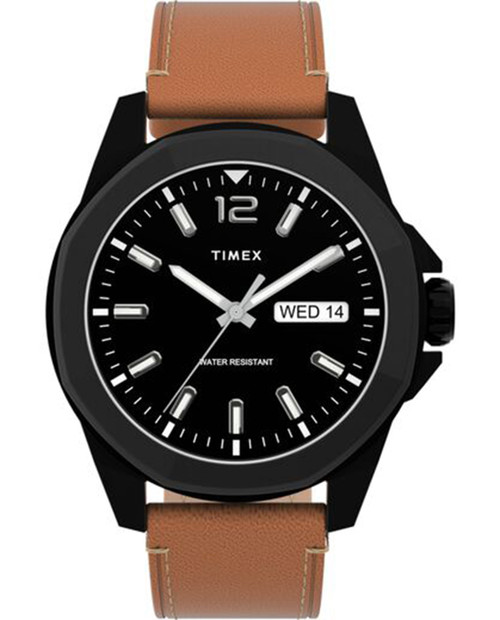 TIMEX Black 44mm Essex Avenue Watch with Leather Strap in Brown