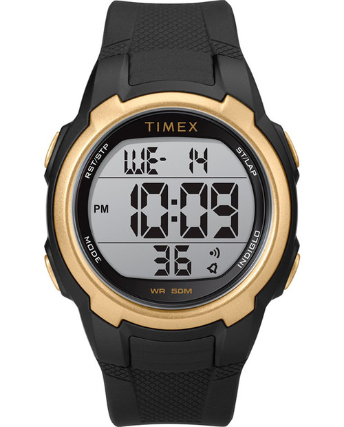 Black / Gold Timex T100 with Black Strap