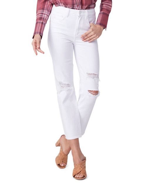 PAIGE DENIM Sarah Straight Ankle in White Hot Destructed