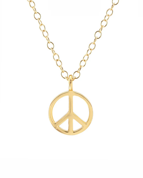 Peace Sign Charm Necklace in Gold Vermiel