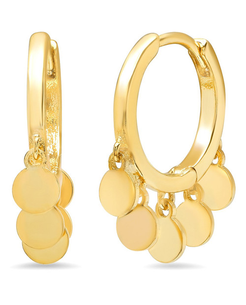 Gold Small Hoops with Gold Dangle Disks