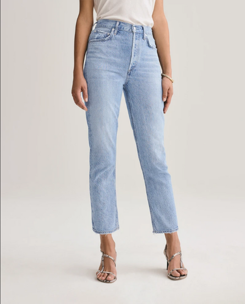 A GOLD E Womens Riley HighRise Straight Crop in Blur
