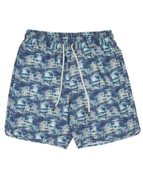 Mens Blue Carbon Swim Trunk 8in