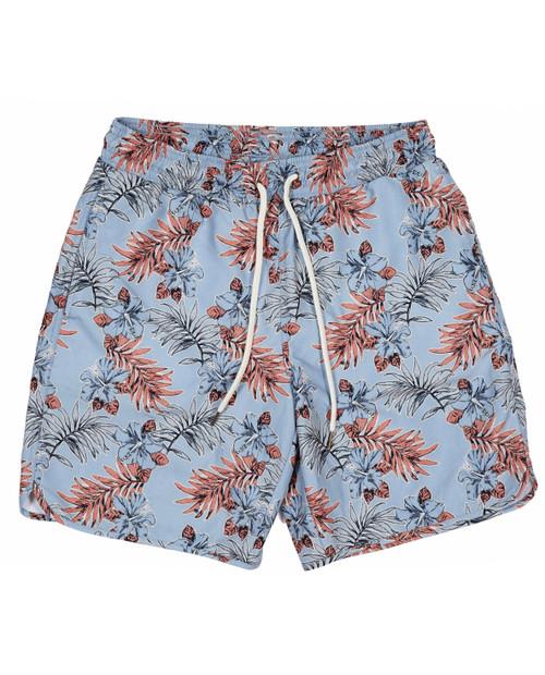 Mens Blue Tropic Swim Trunk 8in