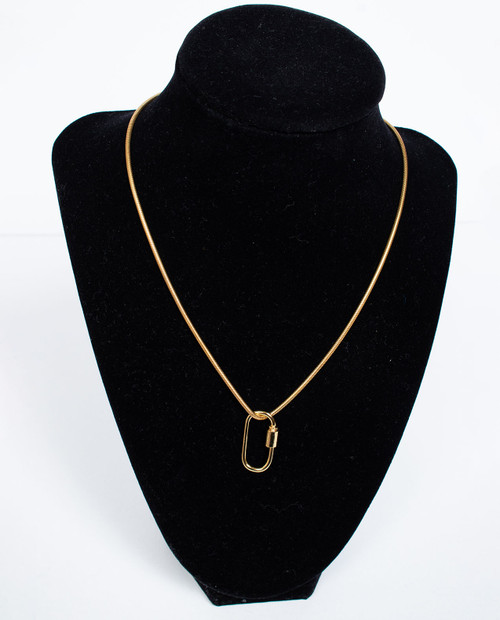 ASHLEY GOLD Lock Neck Snake Chain Necklace