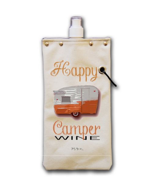 """Womens Tote+Able 25oz Canteen """"Happy Camper Wine"""""""