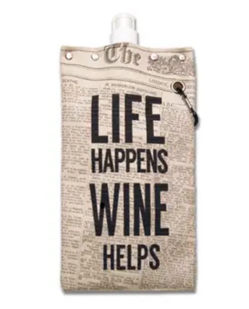 """Womens Tote+Able 25oz Canteen """"Life Happens, Wine Helps"""""""