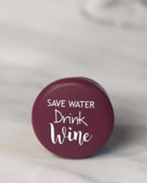 """CAPABUNGA Womens Slogan Cap in Burgundy with White Logo """"Save Water, Drink Wine!"""""""