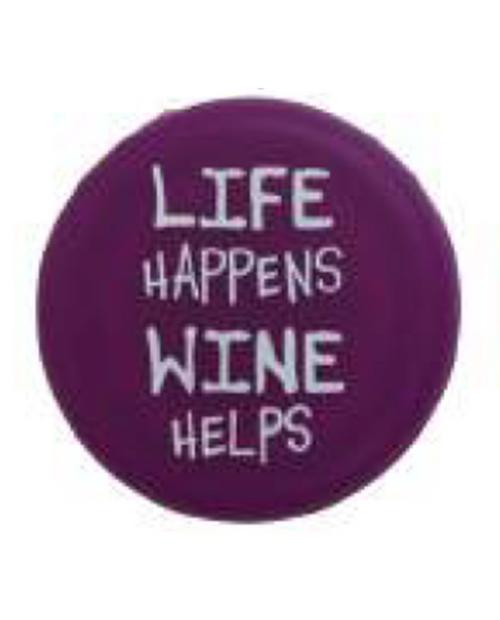 "CAPABUNGA Womens Slogan Cap in Purple ""Life Happens, Wine Helps"""