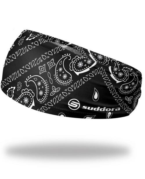 """Black Paisley Bandana Headband 3.5"""" Tapered"""