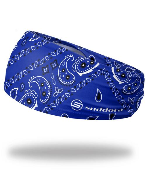 """Blue Paisley Bandana Headband 3.5"""" Tapered"""