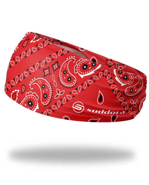 """Red Paisley Bandana Headband 3.5"""" Tapered"""