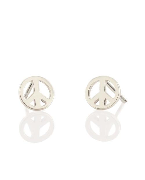 KRIS NATIONS Peace Sign Stud Earrings in Sterling Silver