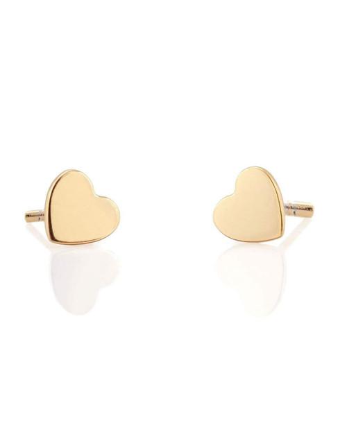 KRIS NATIONS Womens Heart Stud Earrings in Gold