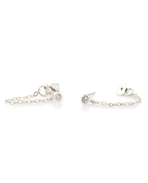 KRIS NATIONS Chain Stud Earring w/ Stone in Silver