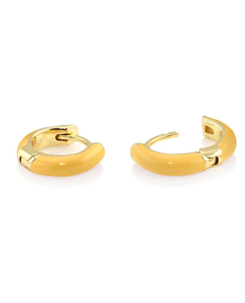 KRIS NATIONS Womens Gold Enamel Huggie Hoop in Yellow