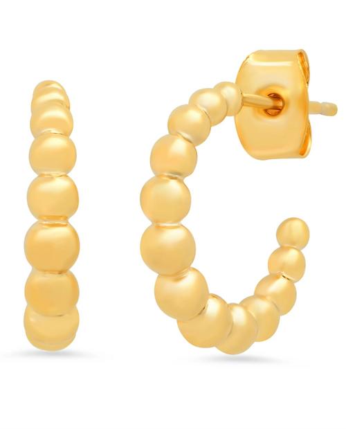 Womens Gold Circle Huggie
