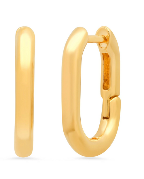 Womens Gold Oval Hoops