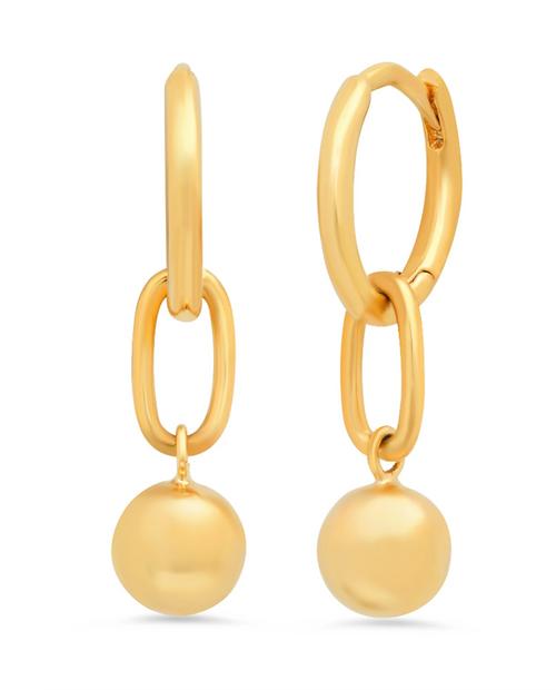 Womens Simple Gold Huggie Earrings w/ Ball Drops