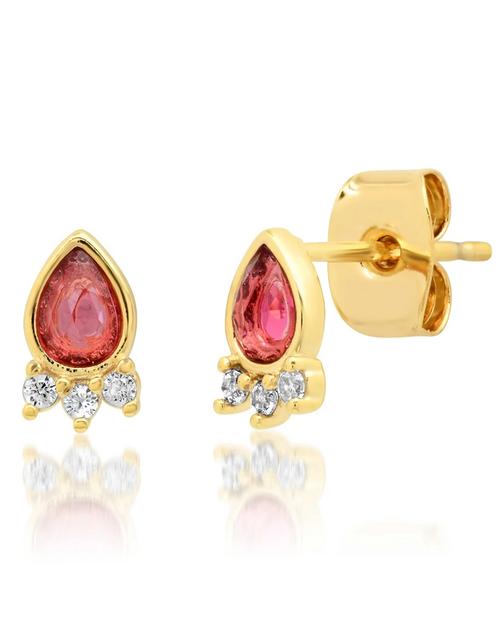 Womens Red Tear Shaped Glass Post Earring w/ CZ Crown