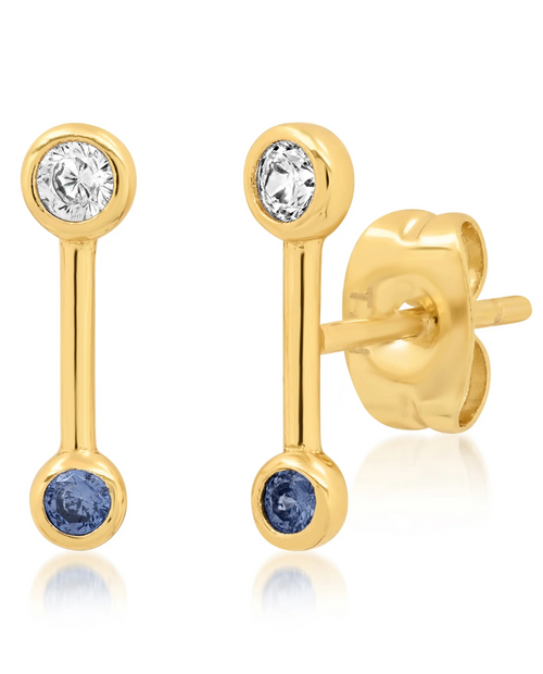Gold Stick Earrings w/ Clear and Indigo CZ