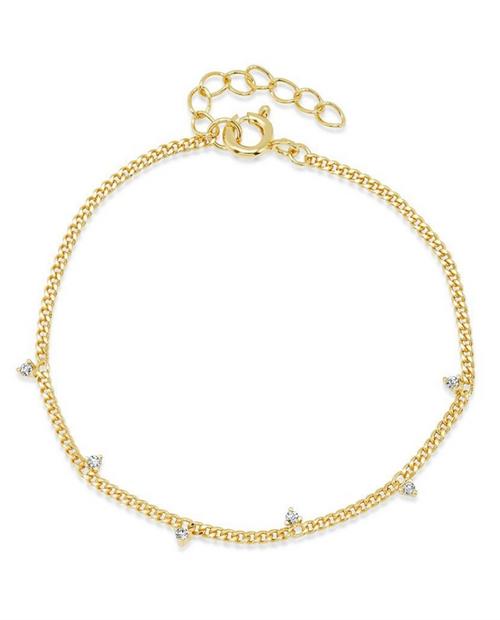 Brass Bracelet w/ Clear CZ Spread