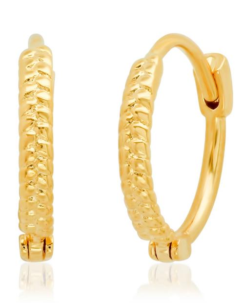 Gold Textured Rope Huggie Earrings