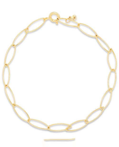 Womens Gold Vermiel Link Chain Bracelet