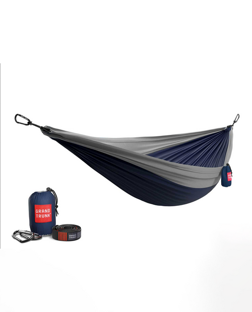Double Hammock with Strap in  Navy / Silver