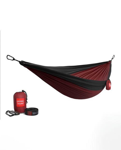 Double Hammock with Strap in  Crimson / Charcoal