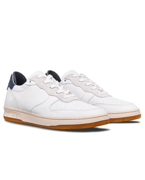CLAE Unisex Malone in White Leather Navy