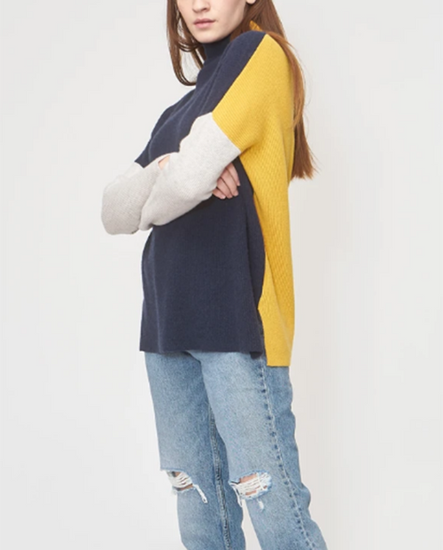 Womens Cashmere Color Block Sweater