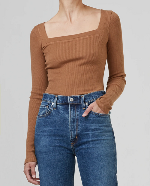 Womens Marisol Square Neck Tee in French Toast