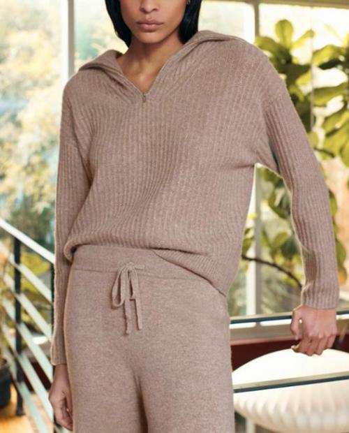 Womens Cashmere Luxe Half Zip