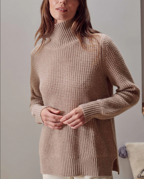 Womens Cashemere Luxe Waffle Knit Stand Neck