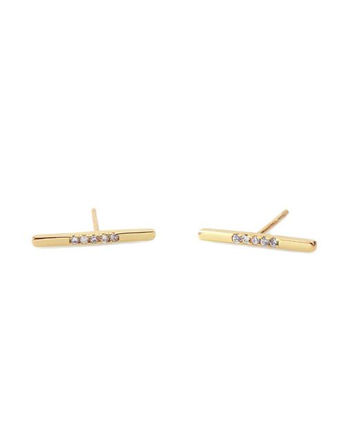 Long Pave Bar Stud Earrings