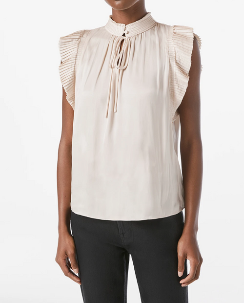 Womens Pleated S/L Keyhole Top