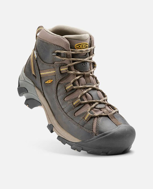 KEEN Mens Targhee II Mid Waterproof in BLACK OLIVE/YELLOW